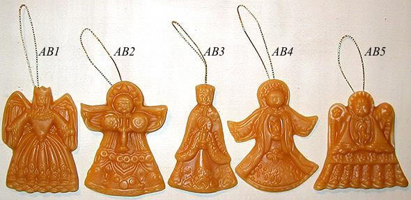 Bittersweet House Set of 5 Beeswax Angel ornaments
