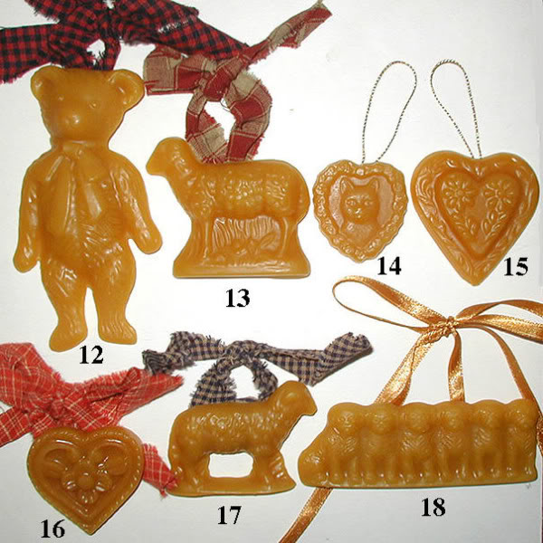 Bittersweet House Beeswax Christmas ornaments