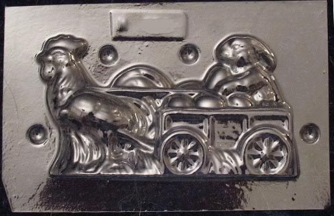 Rooster pulling rabbit cart chocolate mold 140