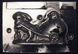 Rabbit pulling Chick in Cart Chocolate Mold