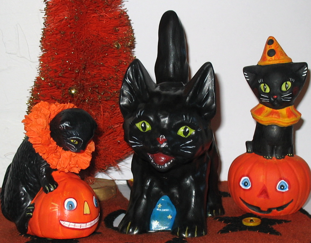 Halloween Cat with JOL handcrafted from an antique Halloween cat chocolate mold