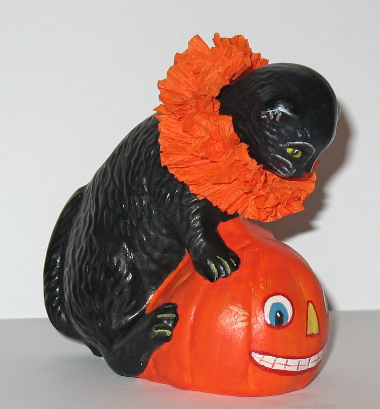 Halloween Cat with JOL handcrafted from an antique chocolate mold