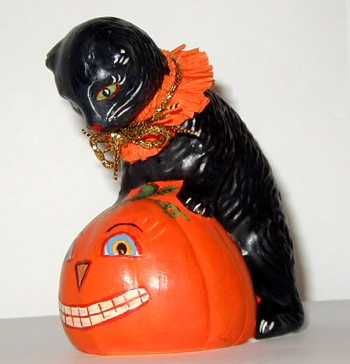 Halloween Chalkware Cat handcrafted from an antique chocolate mold