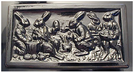 Bunnies painting eggs chocolate Mold
