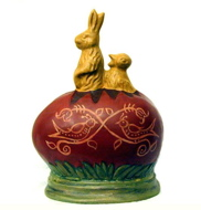 Yelloware Rabbit, Redware egg