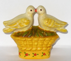 Chalkware Love Birds from antique chocolate mold