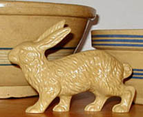 Yellow ware Large Elegant Walking Hare