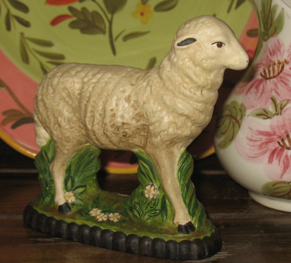 Bittersweet House Chalkware Lamb from antique chocolate mold