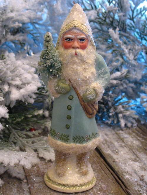 German chocolate mold Santa with Lantern