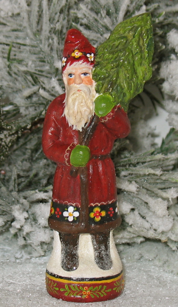 Chalkware Santa with Tree