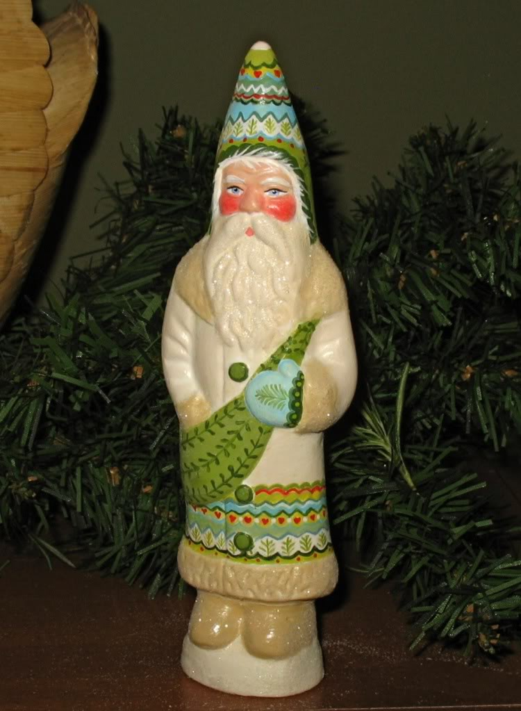 Chalkware Santa from antique chocolate mold