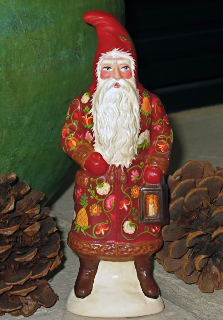 Chalkware Belsnickle from antique chocolate mold Santa with Lantern