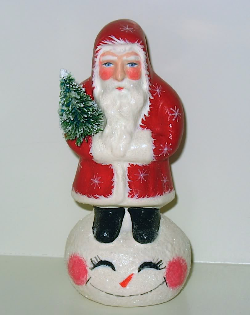 Chalkware Santa on Snowman from antique chocolate mold