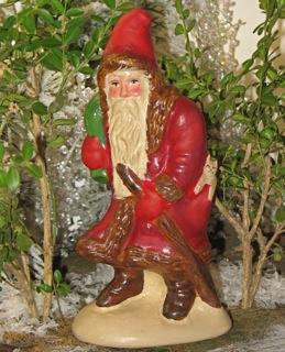 Folk Art Chalkware Santa