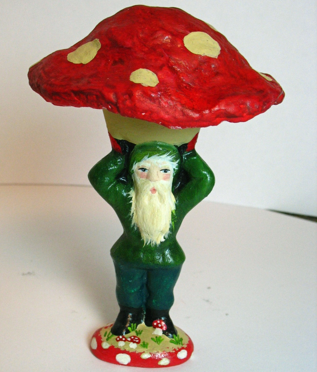 Paper mache Gnome/Mushroom from an antique chocolate mold