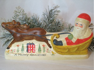 Chalkware   Santa on Sleigh from Jaburg Chocolate mold