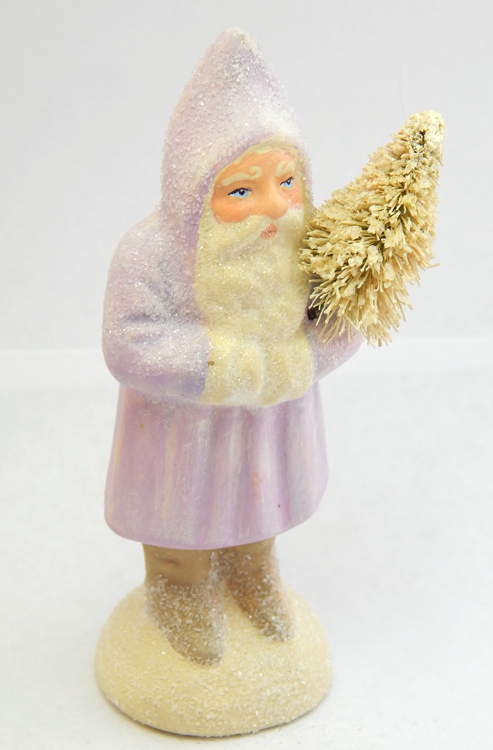 Chalkware Belsnickle Santa with snowy tree