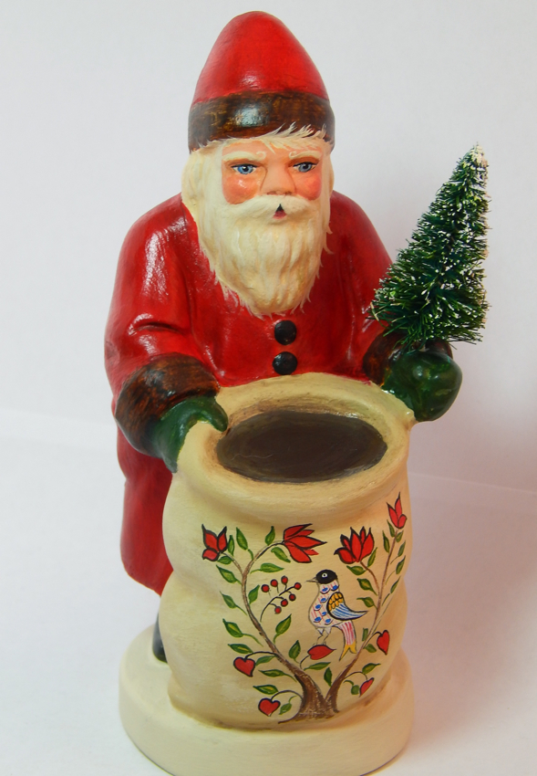 Chalkware German Santa handcrafted from an antique chocolate mold