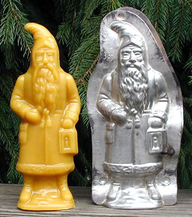 Bittersweet House Beeswax   German Santa with Lantern, ~8 inches tall