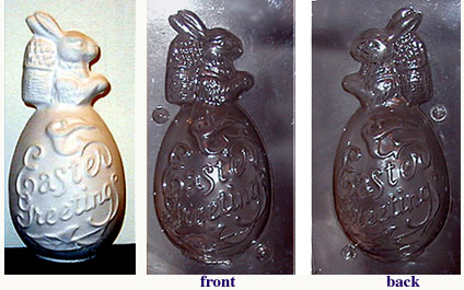 Plastic Rabbit in egg chocolate mold