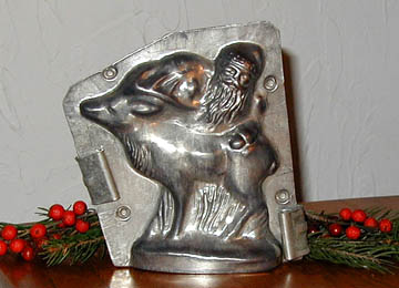 Chocolate Mold Santa with Reindeer, Double sided mold, 4 3/4 wide